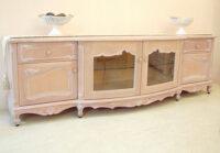 テレビボードW200cm シェルの彫刻 ピンクベージュ色