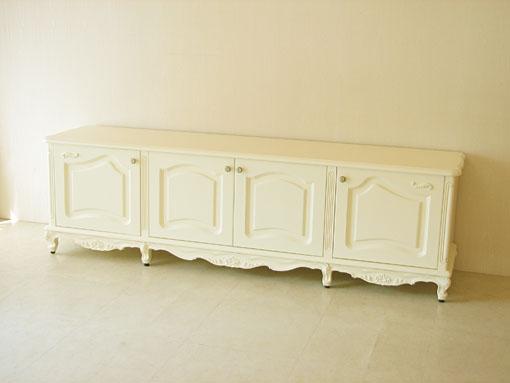 ラ・シェル ローボード W200 板扉 ビバリーヒルズの彫刻 ホワイト色