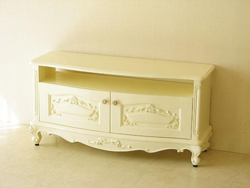 ビバリーヒルズ TVボード オードリーリボンの彫刻 収納スペース付き ホワイト色