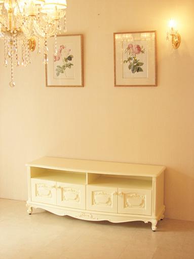 ビバリーヒルズ TVボード W140cm オードリーリボンの彫刻 薔薇のつまみ