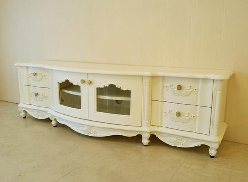 テレビボードW160 ラウンドデザイン ローズ&リボンの彫刻 ホワイト色
