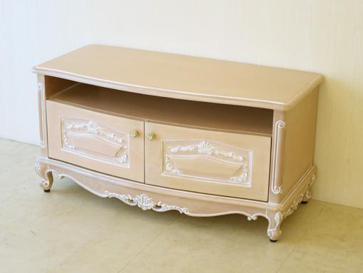 ビバリーヒルズ TVボード 収納スペース付き ピンクベージュ色