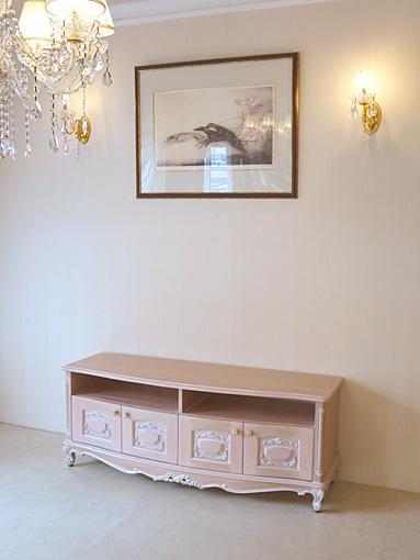 ビバリーヒルズ TVボードW140 リボンの彫刻 4枚扉 ピンクベージュ色