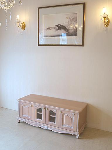 ラ・シェル ローボードW120 オードリーリボンの彫刻 ピンクベージュ色