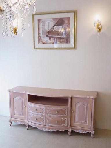 ビバリーヒルズサイドボードW160 ピンクベージュ色