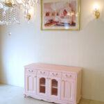 TVボード W120×H70 薔薇の彫刻 バービーピンク色のサムネイル