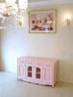 TVボード W120×H70 薔薇の彫刻 バービーピンク色