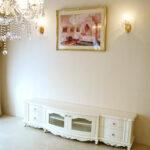 テレビボード W200 ラウンドデザイン 高さ49cm ビバリーヒルズの彫刻 ホワイト色のサムネイル