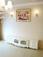 テレビボード W200 ラウンドデザイン 高さ49cm ビバリーヒルズの彫刻 ホワイト色