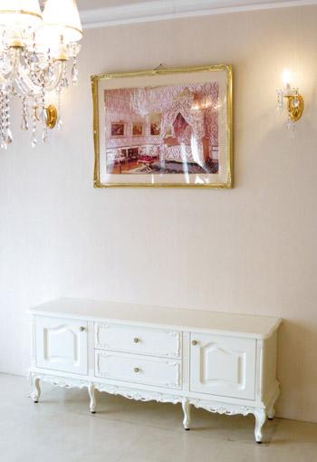 ラ・シェル ローボード ホワイト W150×D40×H60(cm) 脚の長さ20cm 中央引出し2段 ビバリーヒルズの彫刻 ホワイト色