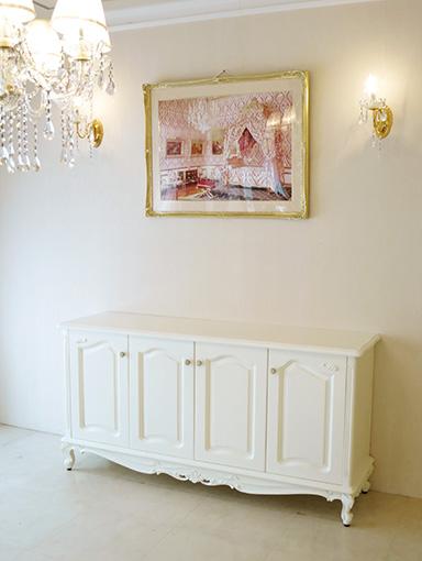 ラ・シェル サイドボード W158cm 4枚扉 ビバリーヒルズの彫刻 ホワイト色