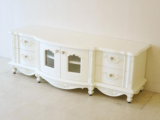 テレビボード W135 ラウンドデザイン ローズ&リボンの彫刻 ホワイト色