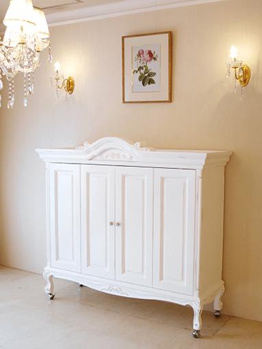 キャビネット収納型 TVボード W146cm リボンとお花模様の彫刻 フレンチアンティークホワイト色