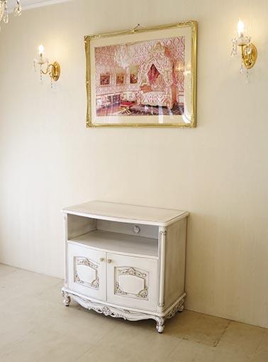 ビバリーヒルズ TVボード W85cm×H75cm 収納スペース ホワイト&ブラックアンティーク色