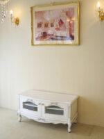 ビバリーヒルズ TVボードW100cm オードリーリボンの彫刻 ホワイト&ブラックアンティーク色