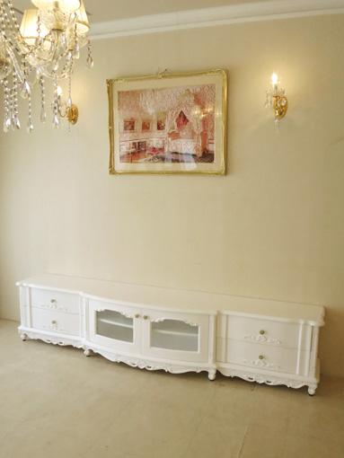 テレビボード W230 ラウンドデザイン 高さ49cm ロココ模様の彫刻 スーパーホワイト色