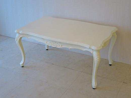 センターテーブル 花の彫刻 W95cm ホワイトグロス色