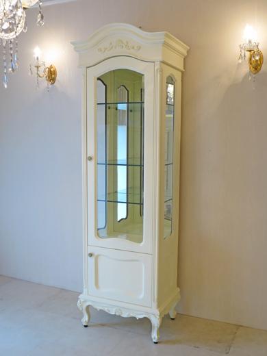 キュリオケース シェルの彫刻 H201cm ホワイトグロス色