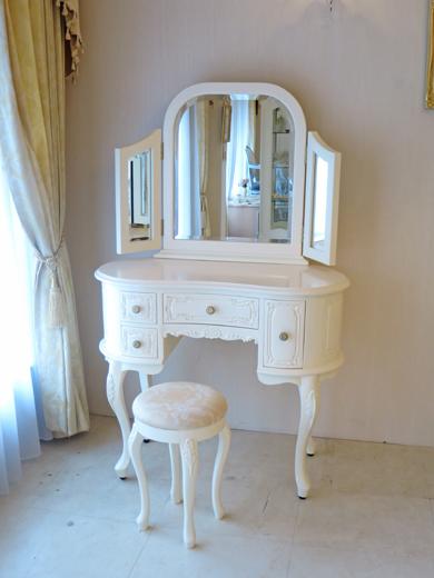 ドレッサー プリンセス 三面鏡 バニラホワイト