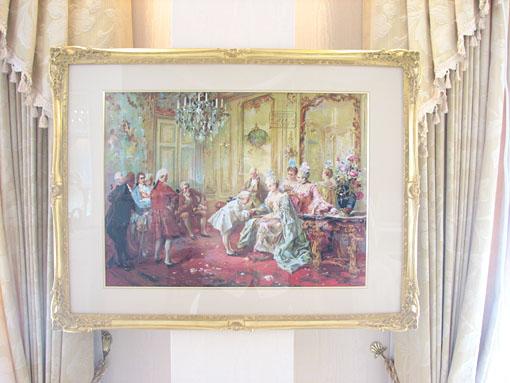 絵画 額装 ポンパドール夫人と挨拶するモーツァルト