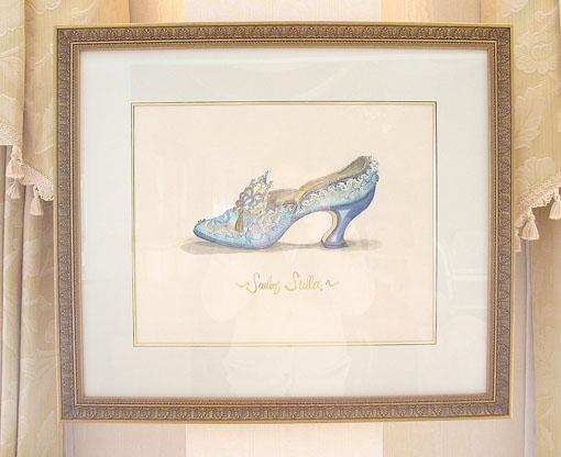 絵画 額装 貴婦人の靴 ブルー WH-13