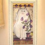 絵画 額装 白い猫のサムネイル