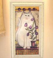 絵画 額装 白い猫