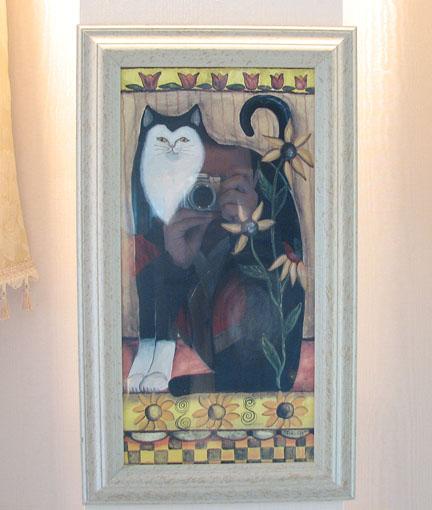絵画 額装 黒い猫