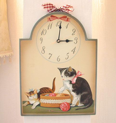 絵画 額装 猫の時計Ⅰ
