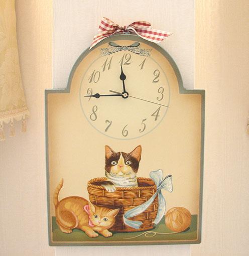 絵画 額装 猫の時計Ⅱ