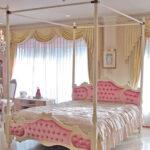 女優ベッド オードリー 天蓋付き クィーンサイズ オードリーリボンの彫刻 ベビーピンクのベルベットの張り地のサムネイル