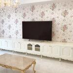 造り付け家具 TVボード W605×H70cm 3分割 ビバリーヒルズの彫刻 ホワイト色のサムネイル