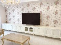 造り付け家具 TVボード W605×H70cm 3分割 ビバリーヒルズの彫刻 ホワイト色