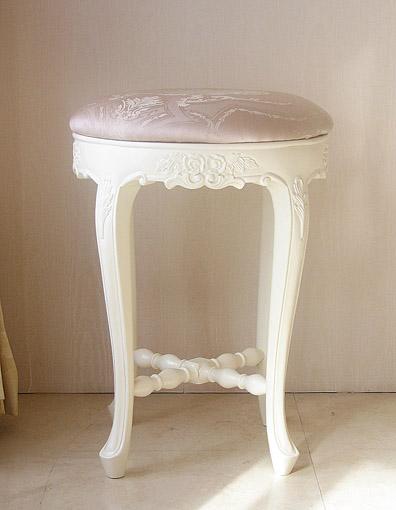 カウンタースツール 薔薇の彫刻 ホワイト色 張地ピンク花かご柄 H50