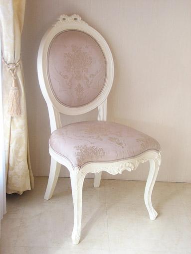 オーバルチェア 猫脚 リボンの彫刻 ホワイト色 ピンク花かご柄