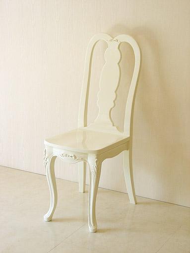 プリマベーラ クィーンアンチェア オードリーリボンの彫刻 ホワイトグロス色 W34