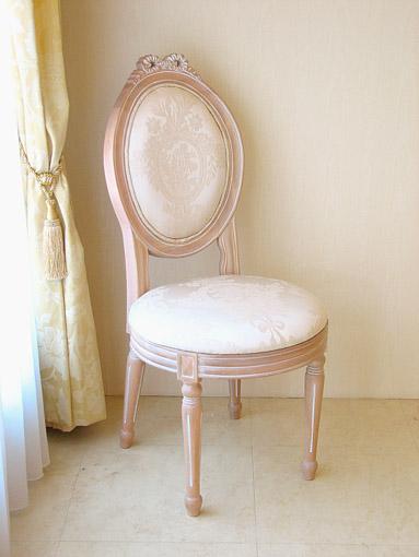 オーバルチェア ルイ16世スタイル リボンの彫刻 ピンクベージュ色 リボンとブーケ柄オフホワイトの張り地
