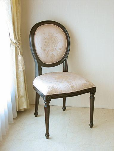 ルイ16世スタイル オーバルチェア 彫刻なし ブラウン色 ピンク花かご柄