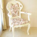 ビバリーヒルズ アームチェア ホワイトグロス色 薔薇柄の張り地のサムネイル