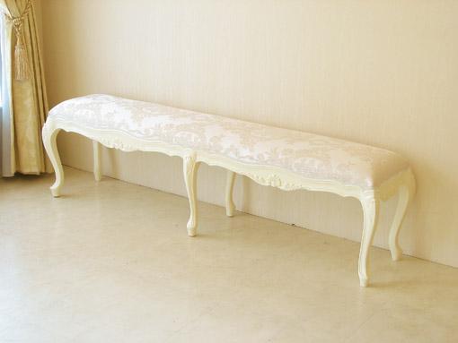 ベンチW153 シェルの彫刻 ホワイト色 リボンとブーケ柄オフホワイトの張り地