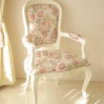 アームチェア オードリーリボンの彫刻 ホワイト色 薔薇柄のサムネイル