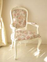 アームチェア オードリーリボンの彫刻 ホワイト色 薔薇柄