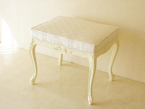 ビバリーヒルズ スツール W60cm オードリーリボンの彫刻 ホワイト色 ホワイトダイヤ柄