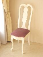 プリマベーラ クィーンアンチェア ホワイト色 座面:布張り パープルベルベット