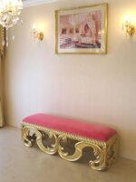 ベルサイユ スツール アンティークゴールド色 ショッキングピンクの張地