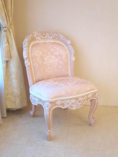 背付きスツール バラの彫刻 W45×D45×H75 ピンクベージュ色 アンピンクⅠの張地