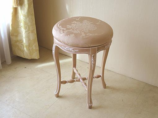 カウンタースツール オードリーリボンの彫刻 ピンクベージュ色 Φ37×H50cm ピンク花かご柄