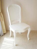 ラ・シェル ダイニングチェア ラタン 座面:板張り ホワイト色 ビバリーヒルズの彫刻