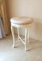 カウンタースツール ビバリーヒルズの彫刻 ホワイト色 ピンク花かご柄