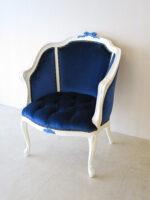 ジューシーチェア オードリーリボン&薔薇の彫刻(ブルーの彩色) ブルーベルベッドの張地